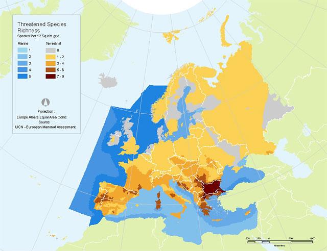 Threatened species richness in Europe - Mammals (source: IUCN European Red List)