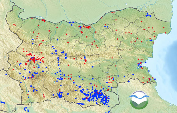 Point counts in Bulgaria.